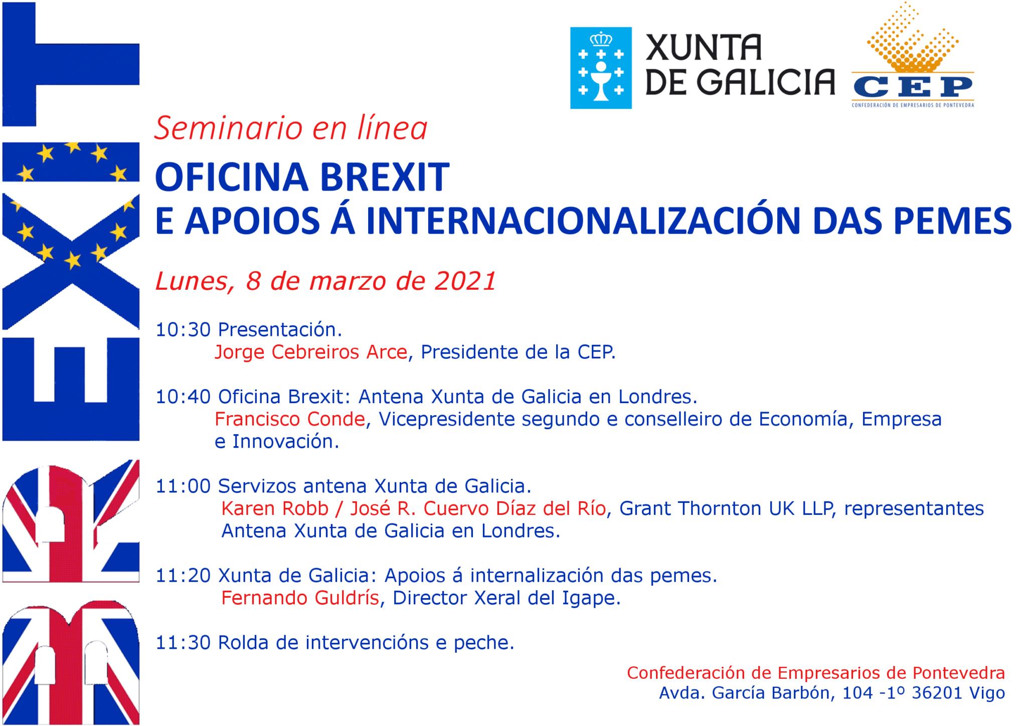 Seminario en línea Oficina Brexit e apoios á internacionalización das pemes
